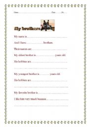 English Worksheets: My brothers
