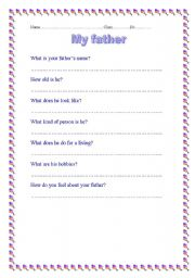 English Worksheets: My father