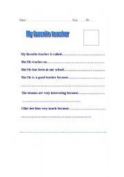 English Worksheets: My favorite teacher