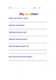 English Worksheets: My mother