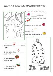 english worksheet coloring a snow man and a tree learning some christmas vocabulary