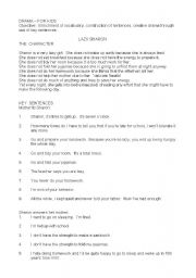 English Worksheet: PLAY-SCRIPT    LAZY SHARON