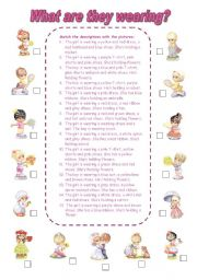 English Worksheet: What are they wearing? (2)