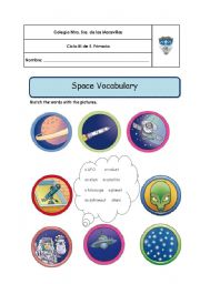 English Worksheet: Space and planets Vocabulary
