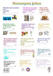 English Worksheets: Homonyms jokes