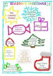 English Worksheet: Christmas Greetings, Xmas Cards or Gift Tags