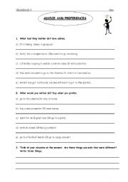 English Worksheets: advice and preferences