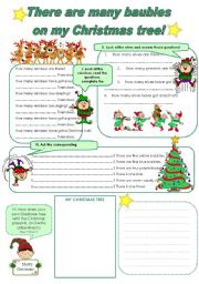 English Worksheet: There are many baubles on my Christmas tree!