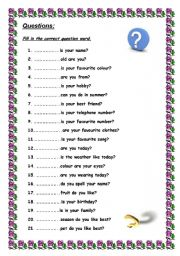 English Worksheets: Questions and questionwords