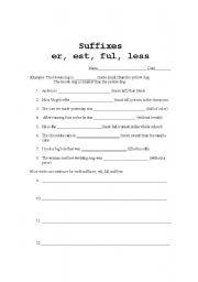 Suffixes -er -est -ful -less - ESL worksheet by roxychc66