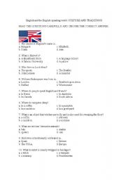 English Worksheet: The English-Speaking World. Culture and Traditions. Test