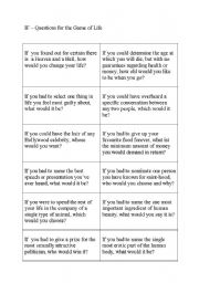 English Worksheets: IF questions for the game of life