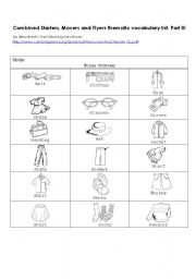 English Worksheet: Combined Starters, Movers and Flyers thematic vocabulary list. Part III: Clothes
