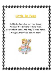 English Worksheet: Nursery Rhymes, Songs and Poems 3/4
