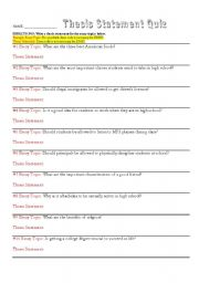 Quiz: Writing Thesis Statements - ESL Worksheet By Alhannah17@gmail.com