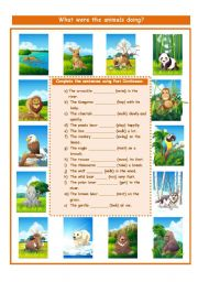 English Worksheets: WHAT WERE THE ANIMALS DOING???