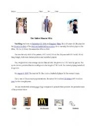 English Worksheets: The Tallest Man