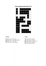 English Worksheet: Crossword Puzzle For Teaching Colours