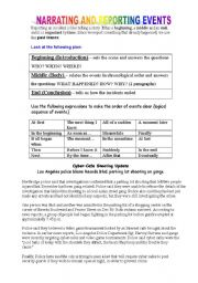 English Worksheets: Reporting Events