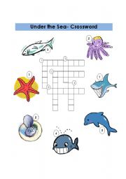 English Worksheet: Under the Sea - Crossword