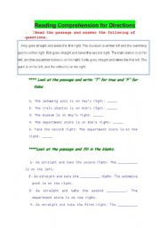 English Worksheets: Direction ~~ Reading Comprehension