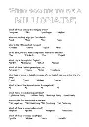 English Worksheet: Who wants to be a millionaire
