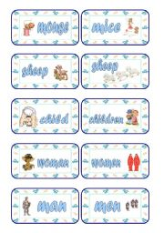 English Worksheets: Singular - Plural Cards (Part 5 of 5)
