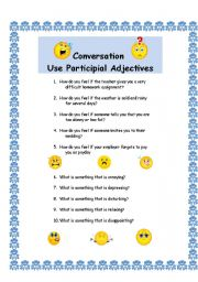 English Worksheet: Conversation with Participial Adjectives