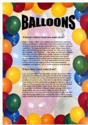 English Worksheets: Balloons - Reading Comprehension