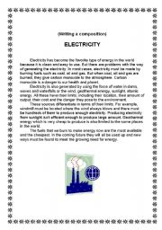 English Worksheet: electricity(writing a composition)