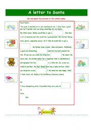 English Worksheet: A LETTER TO SANTA!