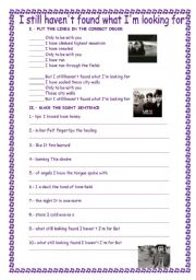 English Worksheets: I still haven´t found what I am looking for