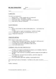 English Worksheet: Student Self Evaluation