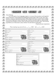 English worksheet: Personal Reading Log
