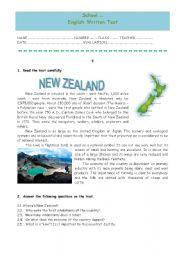 English Worksheet: Test - New Zealand