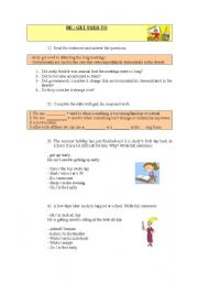 English Worksheet: BE/GET USED TO