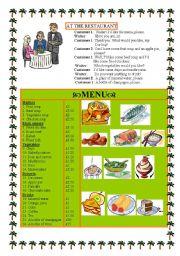 English Worksheet: AT THE RESTAURANT -dialogue +menu