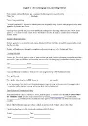 Printables Tutoring Worksheets english worksheets esl tutoring contract worksheet contract