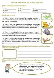 English Worksheet: Animals, have got, body, simple actions