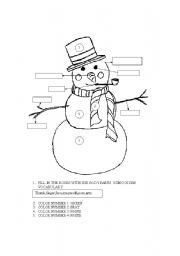English worksheet: COLORING AND BODY PARTS VOCABULARY