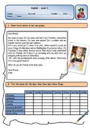 English Worksheet: JANE�S NEW PENPAL