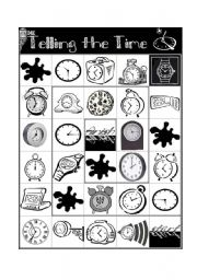 English Worksheet: Telling the Time Board Game