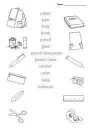 Classroom objects (pen, pencil, paper, etc) - ESL worksheet by evl422