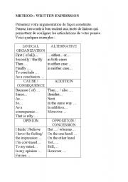 English Worksheets: Written expression / Written expression / Link words