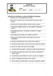 English Worksheet: Grammar Worksheet - Infinitive of Purpose