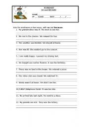 english worksheets grammar worksheet so and because. Black Bedroom Furniture Sets. Home Design Ideas