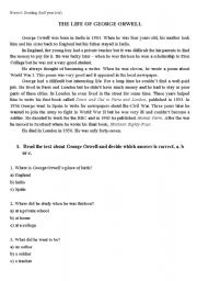 English Worksheets: THE LIFE OF GEORGE ORWELL