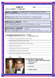English Worksheets: Used to + infinitive