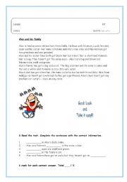 English Worksheets: Alex and his famili