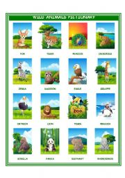 English Worksheet: wild animals pictionary I